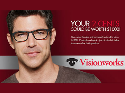 www.eyewearsurvey.com Visionworks Of America Survey $1,000 Check