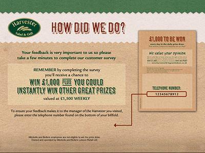 www.harvester-survey.com Harvester Salad & Grill Customer Survey Empathica Cash Prize