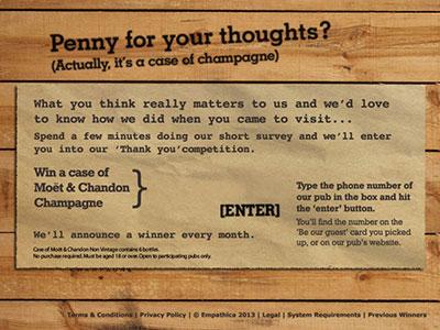 www.bestvillagepubs.co.uk Village Pub & Kitchen Customer Satisfaction Survey Six 750ml Bottles of Non-Vintage Moet & Chandon Champagne
