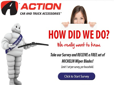 www.actioncarandtruck.com/survey  Action Car and Truck Accessories Michelin Wiper Promo Online Customer Survey Free Set of Michelin Wiper Blades