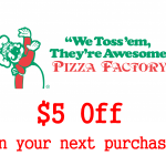 www.surveypizzafactory.com Pizza Factory Customer Survey $5 Off Redemption Code