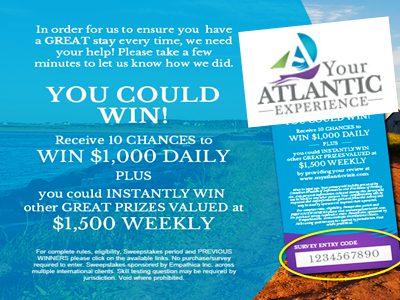 www.visiteatlanticvisit.com Your Atlantic Experience Online Survey Empathica Cash Prize